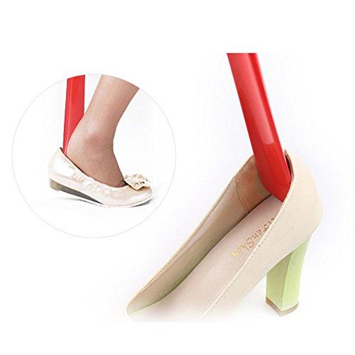 Y56 27.5cm Schuhanzieher Schuhlöffen Schuhlöffel Lang Haltbarer Langer Griff Shoehorn Schuh-Horn-Heber-Unfähigkeits-Hilfsmittel-Flexibler Stock (Rot) -