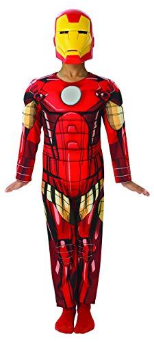 Luxuspiraten - Jungen Kinder Iron Man Deluxe Kostüm aus Avengers Assemble mit Muskelpolster Einteiler und Maske, perfekt für Karneval, Fasching und Fastnacht, 128-140, Rot