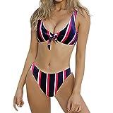 Frauen Draht Kostenlose Badebekleidung Weibliche Streifen BH Geknotete Gepolsterte Tanga Bikini Mitte Taille Scoop Badeanzug Beachwear Swimming Moonuy