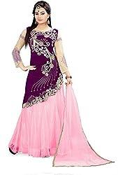 Fabcartz Solid Net Lehenga Choli Dupatta Set (FabC_2_Pink Purple_Free Size)