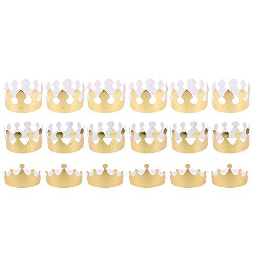 NUOBESTY Papier Prinz Prinzessin König Hüte Kinder Baby Gefälligkeiten Goldenen Geburtstag Krone Hüte Party Cap Kronen für Geburtstagsfeier, Baby Shower - 18St