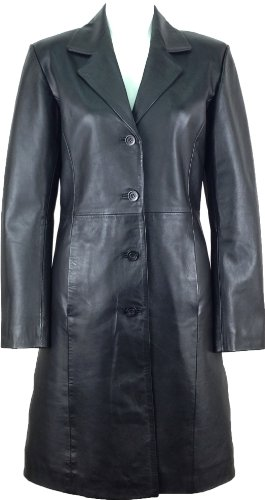 UNICORN Donne Autentico Vera Pelle Giacca Classico Stile Cappotto Lunghezza Lungo Nero #AK Dimensione 36 (10)