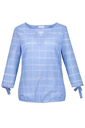 GINA LAURA Damen bis 50   Bluse mit Karos   Bindebändchen   3/4-Ärmel   Gummizug am Saum   graublau 38 718132 12-38 -
