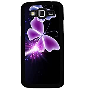 Casotec Neon Butterfly Light Abstract Shine Design 2D Hard Back Case Cover for Samsung Galaxy Grand 2 G7106 - Black