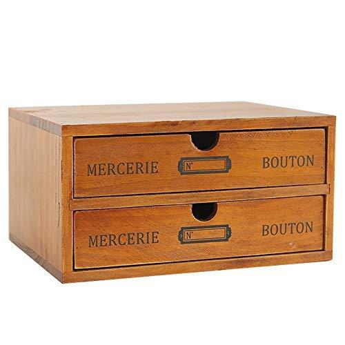Zwei 2 Holz (Baffect Desktop Schubladenbox Holz 2 Stöckig Aufbewahrungsbox mit Schubladen Vintage Schmuckkästchen Holzkästchen Holzbox mit Schubfach Organizer Holz Tischkommode zur Aufbewahrung, 2 Etage)