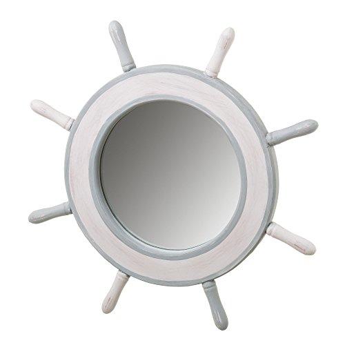 Espejo Redondo de Madera Blanco nórdico para decoración DE 43 cm Vitta - LOLAhome