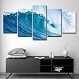 SUNSUNNY Canvas Prints, Wall Art Prints on Canvas Huge Ocean Wave Printing Picture Modern Split 5 Pieces HD Artwork for Living Room Bedroom Home Office Decorations (Frameless),M