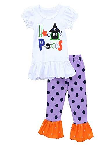 Neugeborenes Baby Mädchen Brief Drucken Shirt Tops und Punkte Drucken Hosen 2 Stücke Outfits Halloween Kostüm Verkleidung Karneval Party von Innerternet