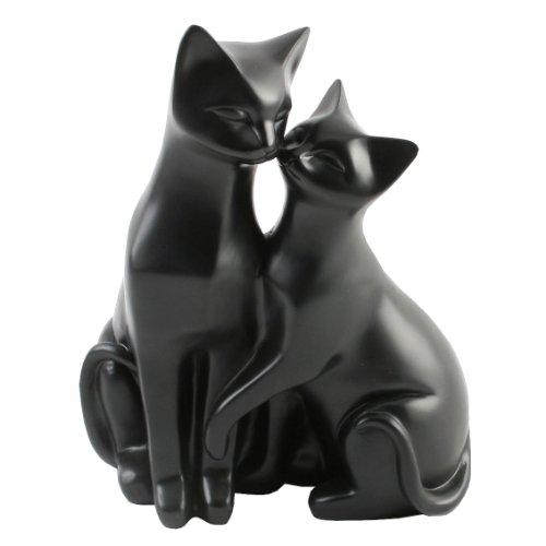 """Figura decorativa de gato con texto en inglés """"Mr & Mrs Cat"""" - Par de gatos amantes en la manguera sentada. Esta preciosa figura representa el amor vínculo entre el gato macho y femenino, ambos se deslumbran adorablemente entre sí. Esta es una ca..."""