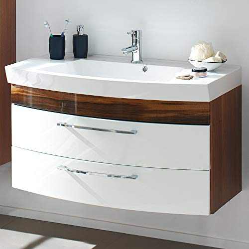 Lomadox Badezimmer Waschtisch 100cm mit Unterschrank, Hochglanz weiß - Walnuss Nb, 2 Softclose-Schubkästen -