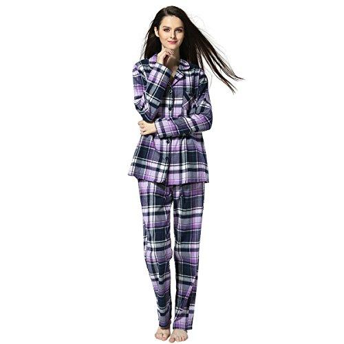 Muster Flanell-pyjama (Frauen-Baumwolle Plaid Pyjama Set Langarm Knopf nach unten Flanell Lounge Nachtwäsche (Violett, XL))