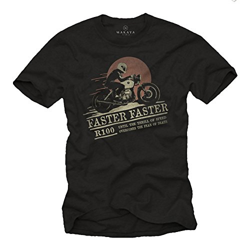 MAKAYA Abbigliamento Uomo Moto - Maglietta Cafe Racer Accessori - Harley Biker T-Shirt Nera M