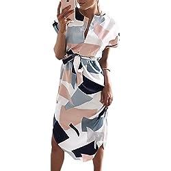 ECOWISH Sommerkleider Damen Kurzarm V-Ausschnitt Strand Blumen Kleider Abendkleid Knielang Weiß 2XL