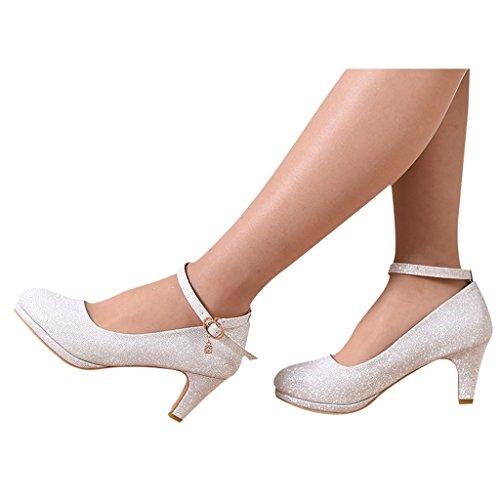 Beautiful bridal shoes scarpe da sposa - abiti da damigella d'onore di nozze tacchi d'argento (con alti 6cm) - scarpe da sposa da donna (colore : silver, dimensioni : 38)