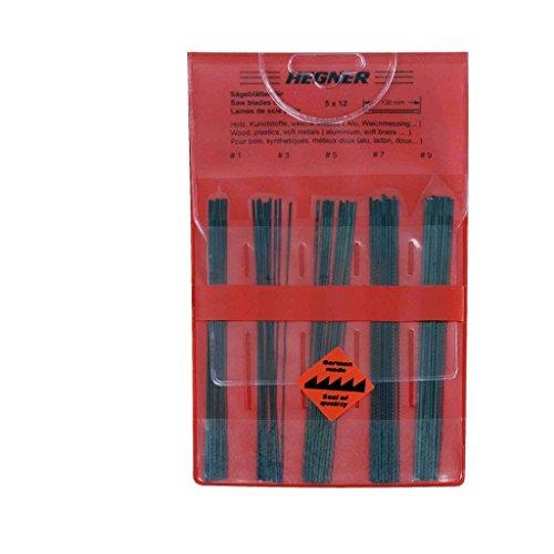 Hegner Sortiment Sägeblätter 60-Stück für Holz, Kunststoffe und weiche Metalle jede 12-Stück, Größe 1, 3, 5, 7 und 9, 95300