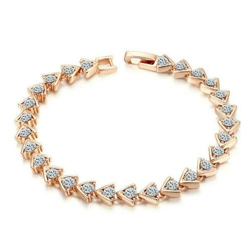 Yoursfs - Braccialetto alla moda, in stile Art Deco, con perle di vetro, motivo: triangolo, placcato in oro rosa 18 carati, cristallo austriaco