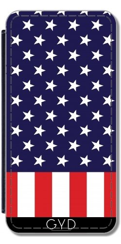 Leder Flip Case Tasche Hülle für Apple iPhone 6/6S - Amerikanische Flagge by loki1982 Lederoptik