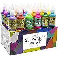 Pittura per Tessuti 3D Nazca – Set 24 Colori 30ml – Vernice Permanente Perfetta per Dipingere Stoffa, Abbigliamento, t-shirt e fare Disegni con Rilievo su Ceramica, Legno, Vetro o Qualsiasi Superficie
