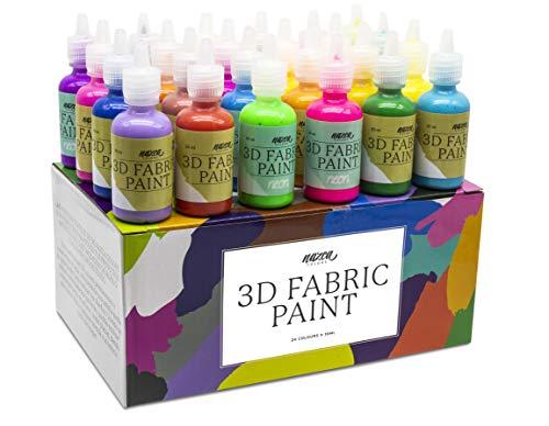 Set de pinturas Textiles 3D Nazca Colors 24 Colores x 30ml         Este set incluye un amplio abanico de colores con 20 tonos vibrantes y 4 colores fluorescentes que brillan con luz ultravioleta, todos ellos en botes de 30ml. Los botes cuenta...