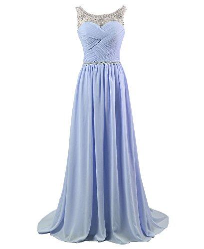 Royal Blau Formale Kleider (Kmformals Damen Perlen Lang Chiffon Formale Abschlussball Abendkleid Brautjungfer Kleider Größe 40 Helles Lila)