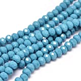 20 Jade Perlen 6 x 4 mm Türkis Rondelle Facettiert Halbedelsteine Schmuckperlen für Kette socken Ring Opak Farbe G313