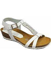 Oh my Sandals - Sandalia Bio blanco y plata en Piel - 3515