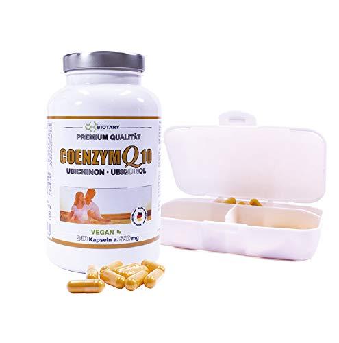 COENZYM Q10, 240 Kapseln a 200 mg, INKLUSIVE PILLENBOX, Hochdosierte Kapseln im 8 Monatsvorrat, Mit Vitamin C, B3, B7, schwarzem Pfeffer, 100% Vegan, hohe Bioverfügbarkeit, Q10 Ubiquinol Ubichinon