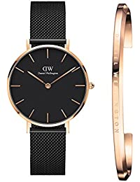 Daniel Wellington Women's Classic Petite Ashfield 32Mm Rose Gold Black Dial Analogue Watch And Rose Gold Cuff Combo