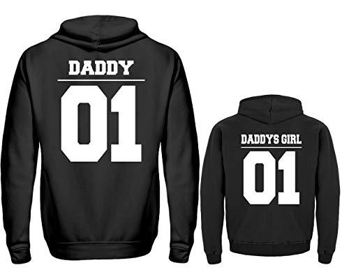 Daddy Hoodie (Vater Tochter Partnerlook Hoodie Daddy 01 Daddys Girl 01 Pullover Papa Kind Partner Look Für Herren Und Tochter In Schwarz (XXL & 12/14 (152/164)))