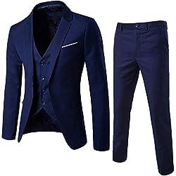 STRIR Traje Suit Hombre 3 Piezas Chaqueta Chaleco pantalón Traje al Estilo Occidental - Traje de 3 Piezas con Chaqueta, Chaleco y Pantalones, Hombre,Ajuste Moderno (Armada, L)