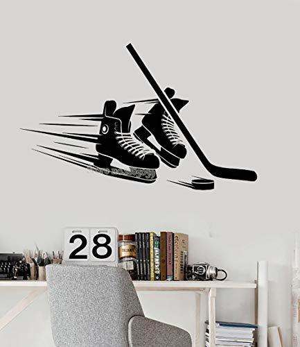 zqyjhkou Skates Stick Puck Ausrüstung Vinyl Wandtattoo Für Wohnzimmer Schlafzimmer Wohnkultur Hockey Player Aufkleber Kunst Moderne Wandbild L68x42cm