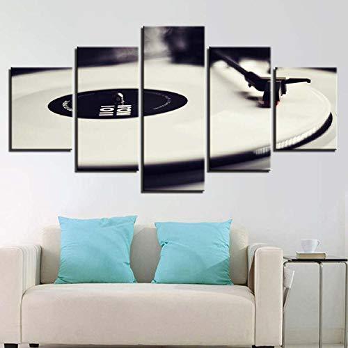 Wuwenw Impression Sur Toile Photos Décor La Maison 5 Pièces Phonographe Peintures Hd Prints Blanc Musique Dj Console Platines Vinyles Affiche Art Toile Imprime Art Maison Décor Pour-40X60/80/100Cm