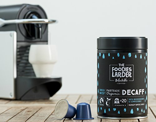 Order Biodegradable Nespresso® Compatible Premium Coffee Capsules   Swiss Water Decaffeinated, Organic Fairtrade Arabica Coffee   40 Compostable Coffee Pods from The Foodies Larder
