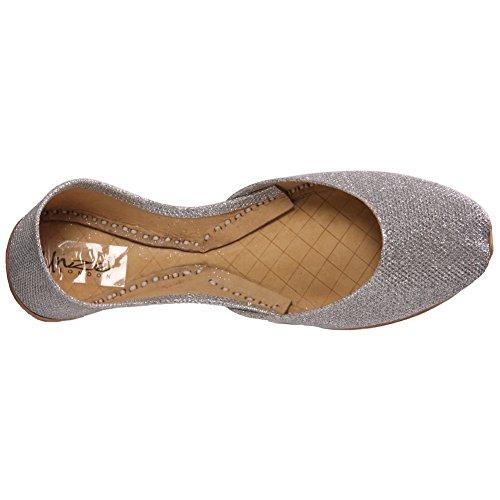 """Unze Für Frauen Anin """" Stilvolle Wohnung Slipons Day -Pumpen-Schuhe - L308 Silber"""