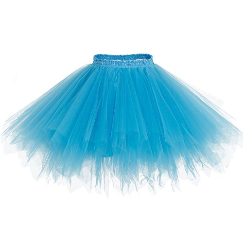 bridesmay Tutu Damenrock Tüllrock 50er Kurz Ballet Tanzkleid Unterkleid Cosplay Crinoline Petticoat für Rockabilly Kleid Blue M
