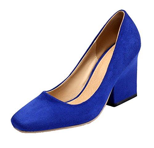 Voguezone009 Mujer Pure Cow Leather Tacón Alto Punta Quedrata Pull Ballerina Zapatos Azul Claro