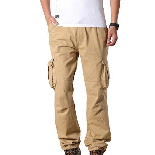 Ginli Pantaloni da Uomo, Pantaloni da Allenamento a Unita da Uomo Tuta da Taschino di Puro Colore Pantalone per Casual da Lavoro