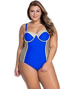Nuovo donna Plus Dimensioni blu e grigio a blocchi di colore Swimsuit One Piece Body monokini Dance costume taglia...