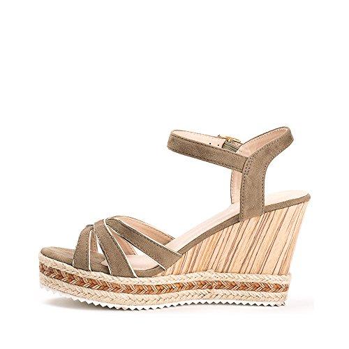 Ideal Shoes Sandales Compensées Effet Daim Hevina Taupe