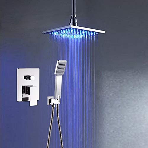 Wall Mounted Bathroom LED Color Changing Rainfall Shower Head Shower Set Faucet Taps Single Handle with Hand Shower,Ceiling mount style Single Ceiling Mount
