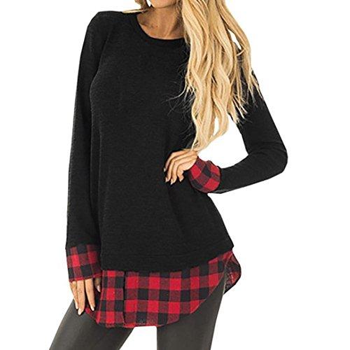 QinMM Sudadera A Cuadros De Mujer, Jersey De Patchwork Suelto De Manga Larga Casual Sweatshirt (Negro, S)
