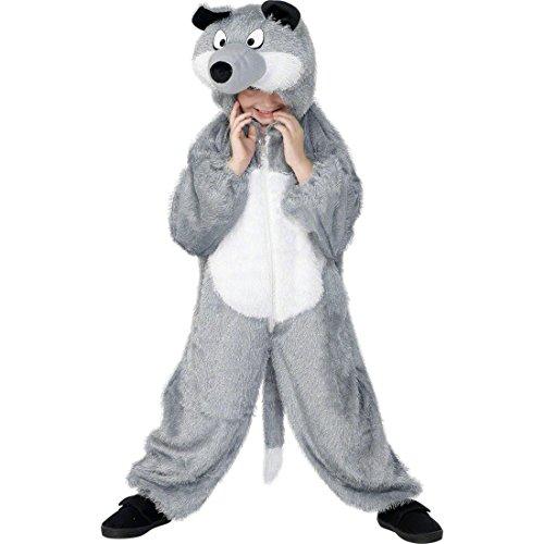Amakando Wolf Kostüm Kinder Wolfskostüm Wolfkostüm Overall Hund Tierkostüm Märchen Jumpsuit Faschingskostüm Tier Kostüm (Hund Wolf Kostüme)