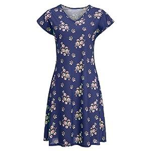 Damen Kurzarm Blumendruck Kleider, Sommer Bohemian Drucken T-Shirt Kleider A-Linie Swing Strandkleider Party Kleid Casual V-Ausschnitt Folk-Custom Knielanges Kleid