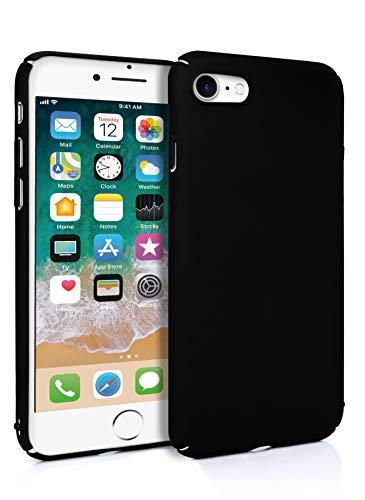 MyGadget Slim Fit Hardcase Hülle für Apple iPhone 7 8 - Schutzhülle federleicht & Ultra dünn - Plastik Case Hard Cover Schutz Kratzfest in Matt Schwarz Schwarz Hard Case