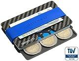 slimpuro Porta carte di credito in carbonio, portabanconote e monete | anti RFID NFC | Multiplo 16 scomparti | Mini e tascabile