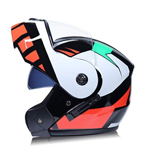 Männer Racing Helm Modular Dual Lens Motorradhelm Vollgesicht Safe Helm Transparenter Anti-Fog-Helm für Motorräder
