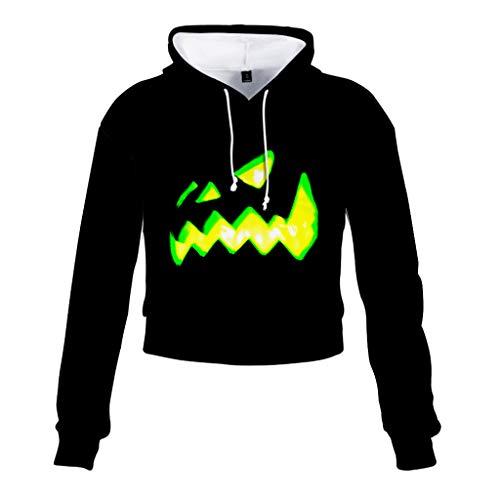 LQQSTORE Damen Kapuzenpullover Halloween Kürbis Patchwork Sweatshirt Top Kapuzenjacke Crop Jeans Gestreifte Outdoor (Schwarz, XL) -