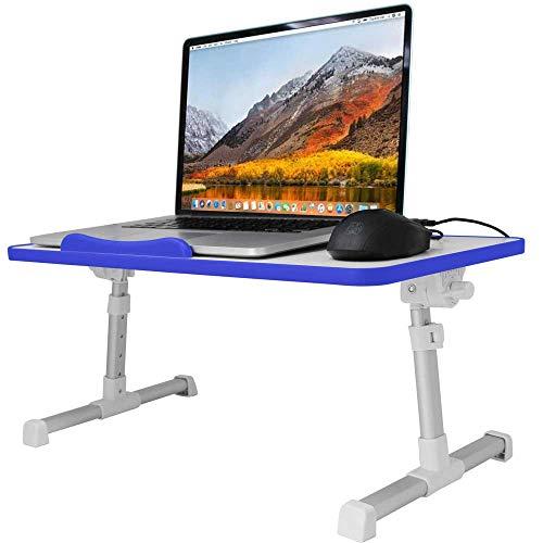 Verstellbarer Laptop & MacBook Tisch, Nachtisch, Faltbarer Sofa Frühstückstisch Tablett - Notebook Ständer Halter Halterung - Lesehalter für die Couch Flur in Blau