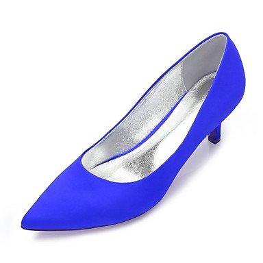 Rtry Chaussures De Mariage Pour Femmes Satin Comfort Spring Summer Wedding & Amp; Robe De Soirée Bowknot Strass Heelivory Champagne Plat Bleu Rubis Us7.5 / Eu38 / Uk5.5 / Cn38