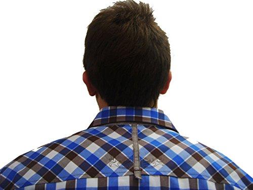 Herren Trachtenhemd blau braun weiß kariertes Herrenhemd Eduard Slim Fit Langarm blau Blau